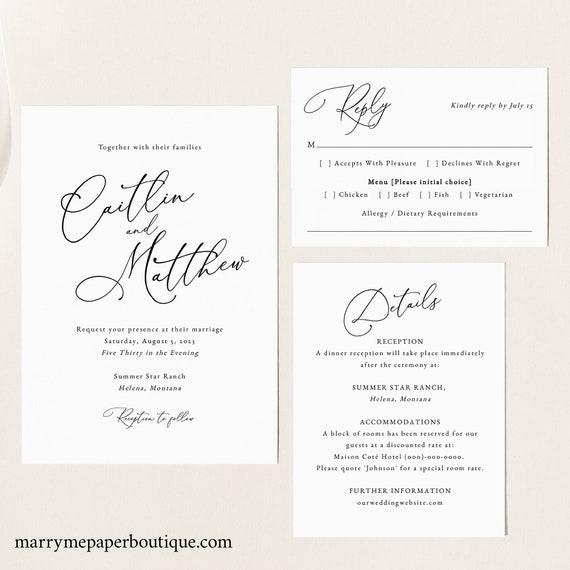 Calligraphy Wedding Invitation Template Set, Elegant Wedding, Invitation Set, Printable, Editable, Details, RSVP, Templett INSTANT Download
