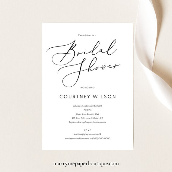 Bridal Shower Invitation Template, Calligraphy, TRY BEFORE You BUY, Editable Instant Download
