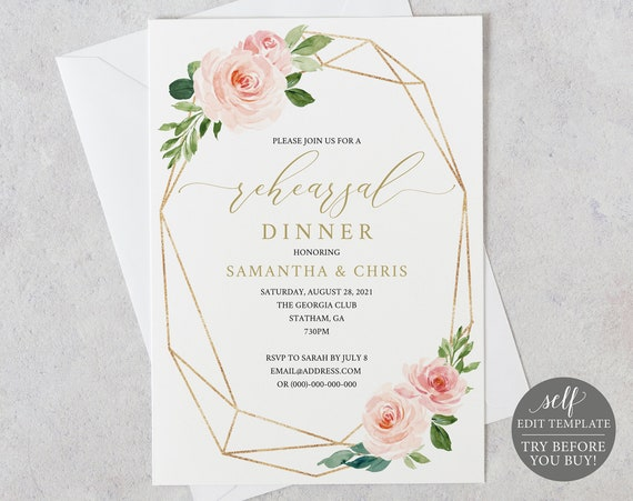 Rehearsal Dinner Invitation Template, Blush Floral Geometric, Editable Instant Download, TRY BEFORE You BUY
