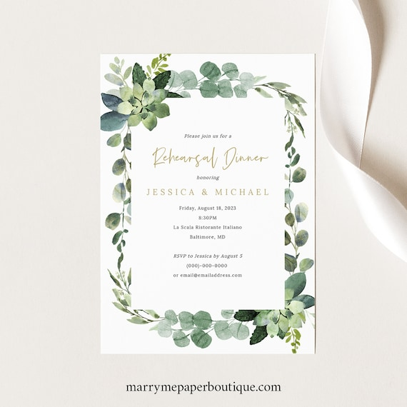 Rehearsal Dinner Invitation Template, Lush Greenery, Editable Invite, Printable, INSTANT Download
