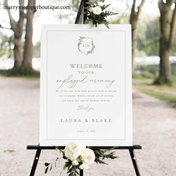 Unplugged Ceremony Sign Template, Botanical Crest, Elegant Unplugged Wedding Sign, Printable, Fully Editable, Templett INSTANT Download