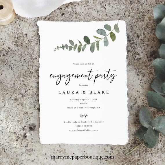 Engagement Party Invitation Template, Eucalyptus Greenery, Engagement Party Invite, Printable, Templett INSTANT Download, Editable