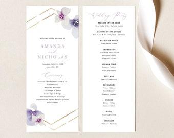 Wedding Program Template, Delicate Lilac Flowers, Wedding Ceremony Program, Printable, Purple Hydrangea, Editable, Templett INSTANT Download