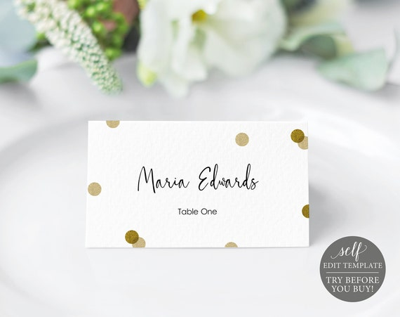 Place Card Template, Demo Available, Editable & Printable Instant Download, Gold Confetti