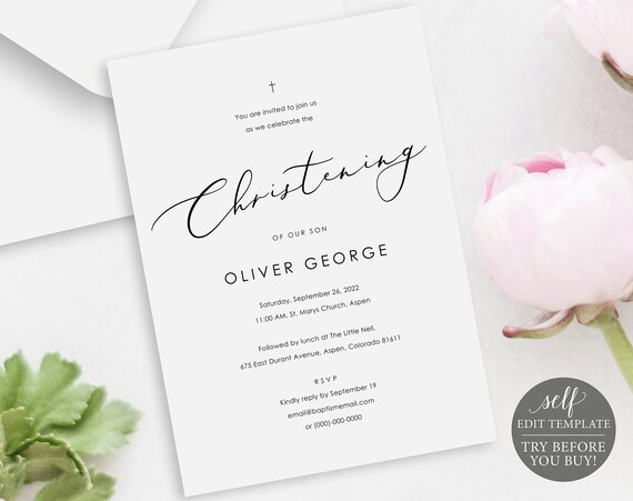 Christening Invitation Template, Elegant Font, Editable & Printable Instant Download, Demo Available