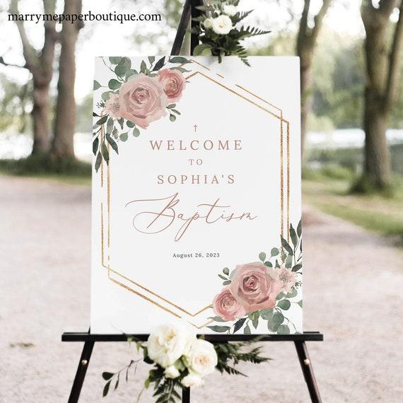 Baptism Welcome Sign Template, Dusky Pink Floral, Printable Baptism Sign, Templett INSTANT Download, Editable