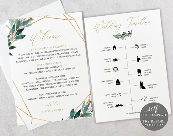 TRY BEFORE You BUY! Itinerary & Welcome Card, Fully Editable Wedding Template, Instant Download, Greenery