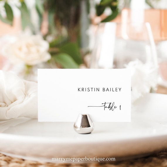 Wedding Place Card Template, Modern Contemporary, Clean Simple Place Cards, Flat & Tent, Printable, Editable, Templett INSTANT Download