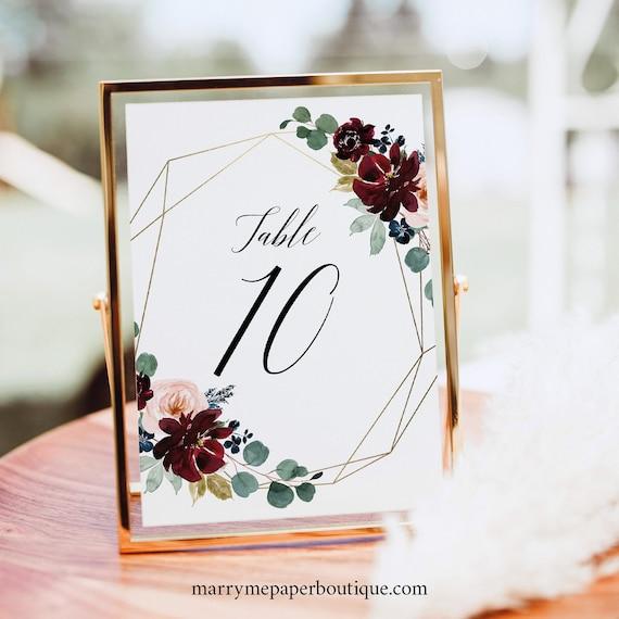 Table Number Sign Template, Burgundy Floral, Wedding Table Number Sign, Printable, Templett INSTANT Download, Editable