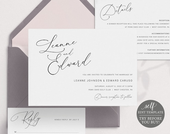 Wedding Invitation Template Suite, Minimalist Script, Editable & Printable Instant Download, Templett