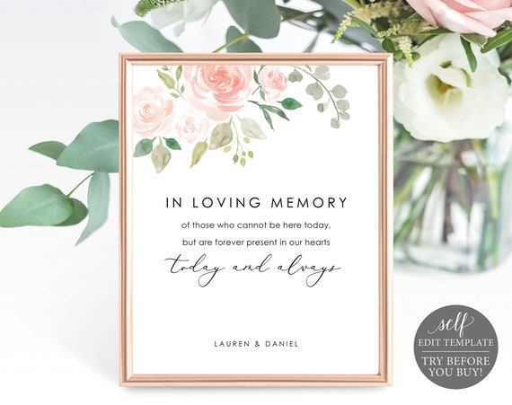 In Loving Memory Sign Template, TRY BEFORE You BUY, Editable Instant Download, Blush Floral