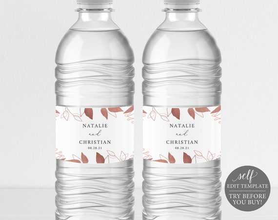 Water Bottle Label Template, Rose Gold Foliage, Editable Instant Download, TRY BEFORE You BUY