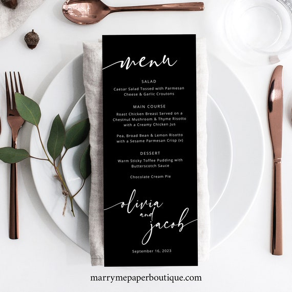 Wedding Menu Card Template, Modern Calligraphy, Black Menu, Table Menu, Printable, Editable, Templett INSTANT Download