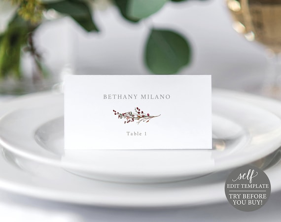 Winter Wedding Place Card Template, 100% Editable Folded Seating Card Printable, Instant Download, TRY BEFORE You BUY