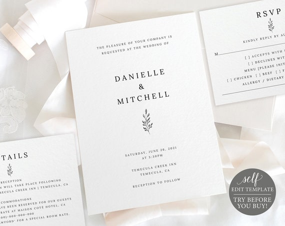 Wedding Invitation Set Templates, Formal Botanical, Editable Instant Download, TRY BEFORE You BUY
