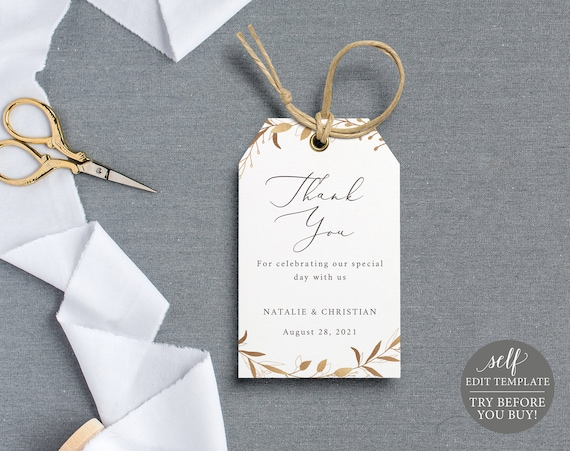 Thank You Favor Tag Template, Gold Wreath, TRY BEFORE You BUY, 100% Editable Instant Download