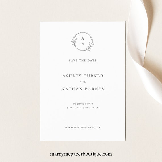Save the Date Template, Circle Monogram, Editable Save the Date Printable, Templett Instant Download, Try Before You Buy