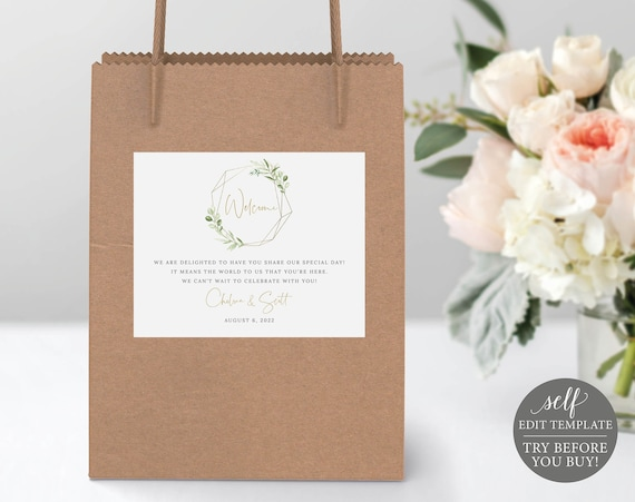 Guest Welcome Bag Label Template, Greenery & Gold, Editable Printable Instant Download, Demo Available, Templett