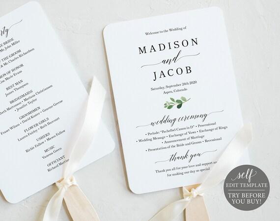 Printable Wedding Fan Program Template, Greenery Wedding Program Fan, Printable Wedding Fan, Ceremony Program Fan, Download, MM07-1C