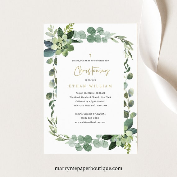 Christening Invitation Template, Lush Greenery, Invite Printable, Editable, Templett, INSTANT Download
