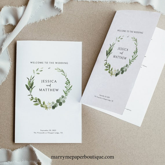 Wedding Program Template, Editable Folded Program, Printable, Demo Available, Templett Instant Download, Elegant Greenery