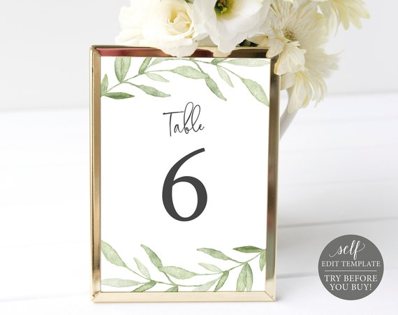 Table Number Template, Greenery Leaves, 100% Editable Instant Download, TRY BEFORE You BUY