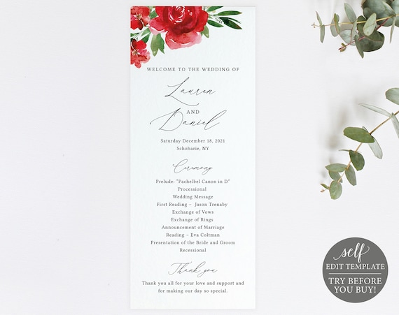 Wedding Program Template, Free Demo Available, Editable Instant Download, Red Floral