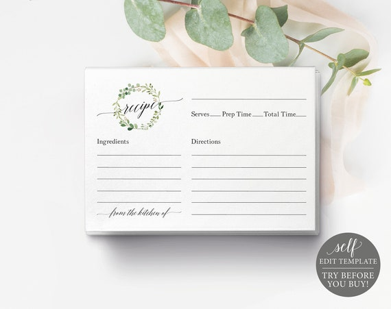 Recipe Card Template, Greenery Wreath, 100% Editable Instant Download, TRY BEFORE You BUY