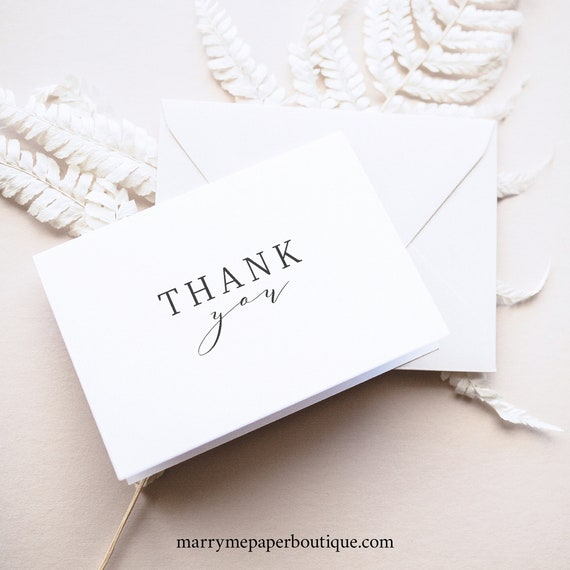 Thank You Card Template, Fold,  Editable Instant Download, TRY BEFORE You BUY, Formal & Elegant