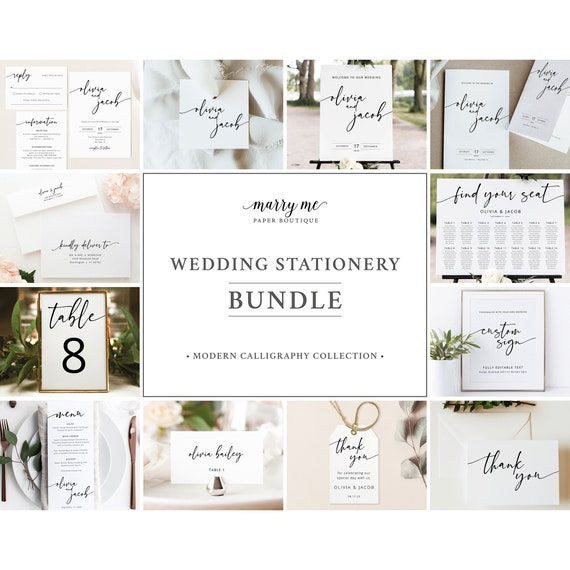 Wedding Template Bundle, Demo Available, Templett Instant Download, Wedding Template Kit, Wedding Bundle Templates, Modern Calligraphy