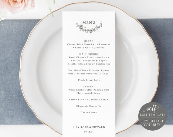 Wedding Menu Template, Botanical Floral, Editable Instant Download, TRY BEFORE You BUY