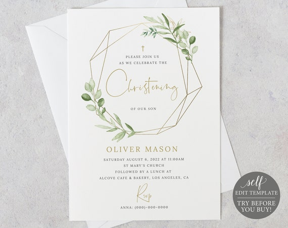 Christening Invitation Template, Greenery & Gold, Demo Available, Editable Printable Instant Download, Templett