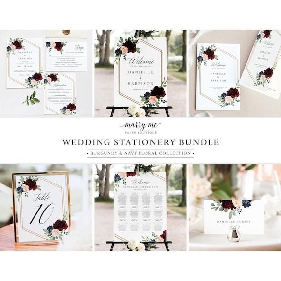 Wedding Invitation Template Bundle, Burgundy Navy, Wedding Bundle Templates, Template Kit, Demo Available, Templett Instant Download