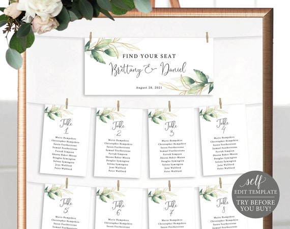 Wedding Seating Chart Template, Free Demo Available, Editable Instant Download, Greenery Gold