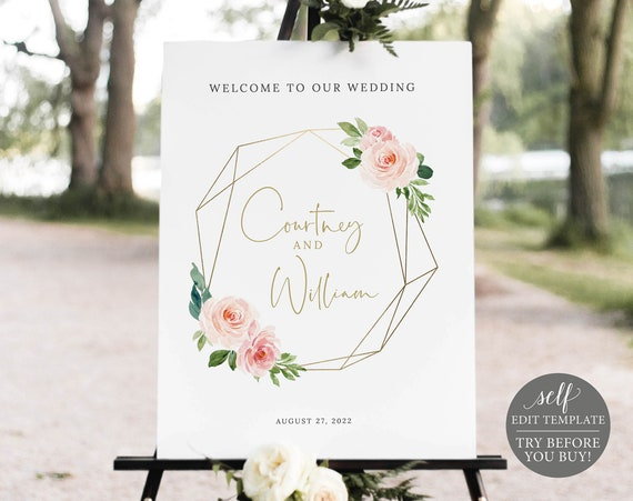 Wedding Welcome Sign Template, Blush Pink Geometric, Demo Available, Order Edit & Download In Minutes