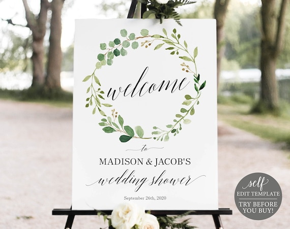 Wedding Shower Welcome Sign Template, Greenery, Editable Instant Download, TRY BEFORE You BUY