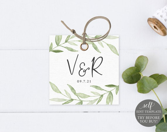 Monogram Tag Template, Greenery Leaves, Editable Instant Download, TRY BEFORE You BUY