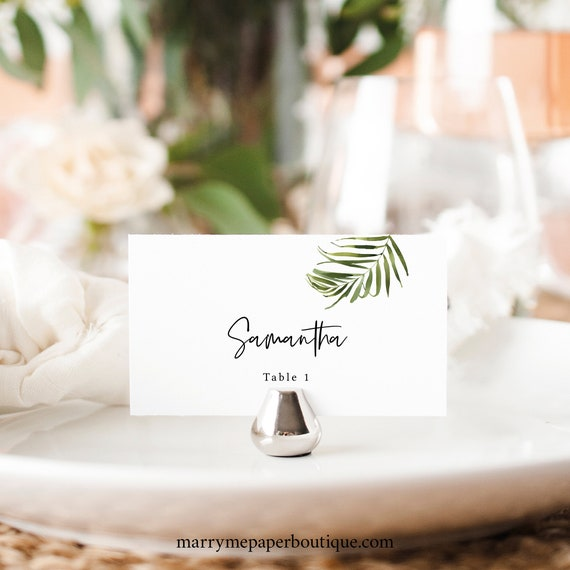 Tropical Wedding Place Card Template, Greenery Seating Card Printable, Templett Editable, Instant Download, Beach Wedding