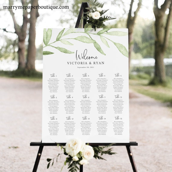 Seating Chart Template, Greenery Leaves, Templett, Try Before Purchase, Instant Download, Editable & Printable