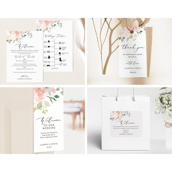 Guest Welcome Bundle Templates, Printable & Editable Instant Download, TRY BEFORE You Buy, Templett, Pink Floral