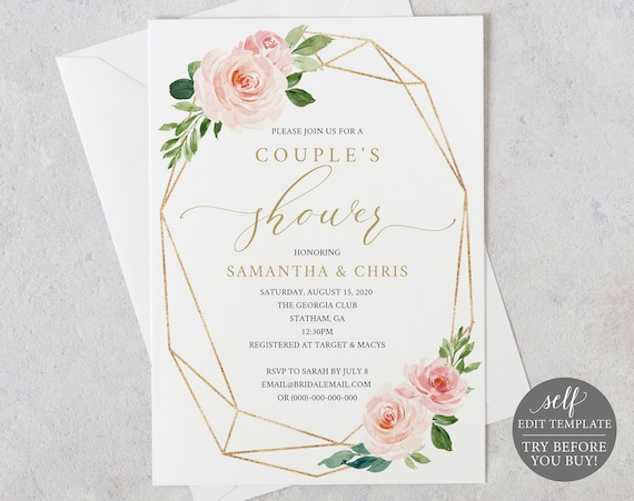 TRY BEFORE You BUY! Couples Shower Invitation Template, Editable Printable, Instant Download, Blush Floral