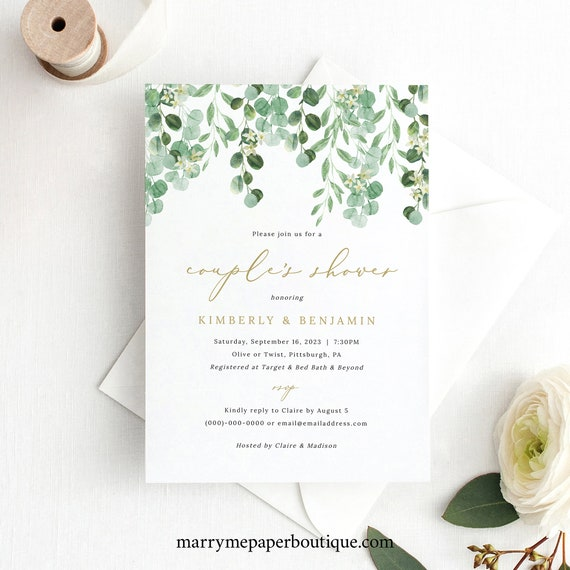 Couple's Shower Invitation Template, Garden Greenery, Templett Editable, Printable Invite, INSTANT Download