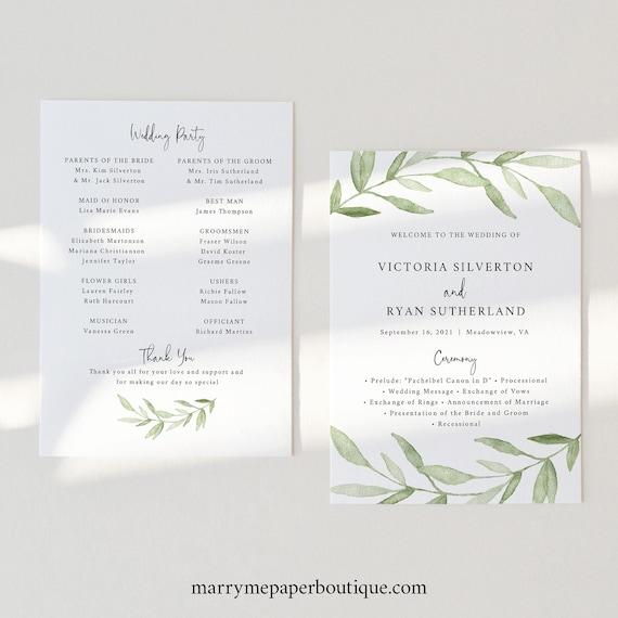 Wedding Program Template, Greenery Leaves, Wedding Ceremony Program, Printable, Editable, 5x7, Templett INSTANT Download