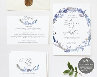 Wedding Invitation Set Templates, Lavender Blue, Fully Editable Instant Download, TRY BEFORE You BUY