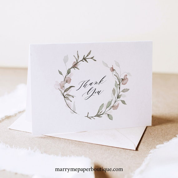 Thank You Card Template, Blush Floral, Greenery Wedding, Folded Thank You, Printable, Editable, Templett INSTANT Download