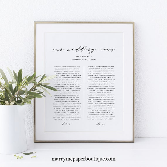 Wedding Vows Wall Art Printable, Elegant Calligraphy, First Anniversary Gift, Vows Wall Art Template, Templett, INSTANT Download