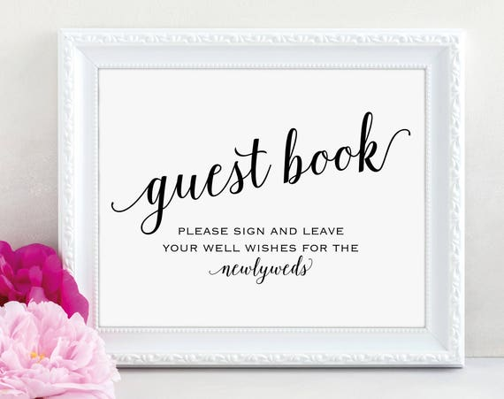 Guest Book Sign, Please Sign our Guest Book, Guest Book Printable, Newlyweds Sign, Wedding Printable Sign, DIY, PDF Instant Download, MM01-1