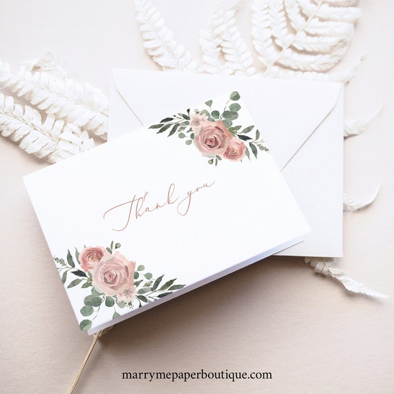 Thank You Card Template, Dusky Pink Floral, Folding Thank You Card, Printable, Templett INSTANT Download, Editable