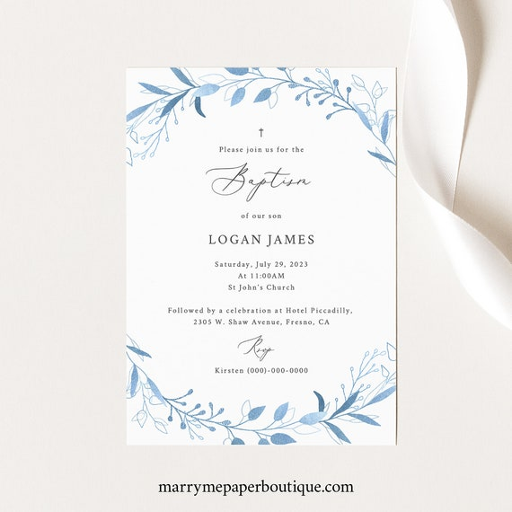 Baptism Invitation Template, TRY BEFORE You BUY, Fully Editable Instant Download, Blue Foliage