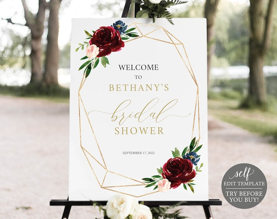 Bridal Shower Welcome Sign Template, Demo Available, Printable Editable Instant Download, Burgundy Geometric